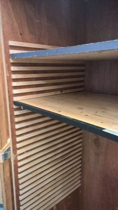 I built tracks for adjustable cabinet shelving to give me flexibility to store flat as well as bulky items in a portable cabinet. Craft Storage Cabinets, Cabinet Shelving, Diy Cabinets, Craft Cabinet, Shoe Cabinet, Diy Garage Shelves, Closet Shelves, Wood Shelves, Garage Organization