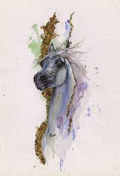 Grey arabian horse original gilded watercolour от AngelHorses