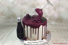 Wine birthday cake with name, write name on wine birthday cake for your men. Write the name of your husband, father or boyfriend on this cake to congratulate his birthday. Birthday Cake Wine, 35th Birthday Cakes, Happy Birthday Chocolate Cake, Birthday Cake For Husband, Funny Birthday Cakes, Elegant Birthday Cakes, Birthday Cakes For Teens, Homemade Birthday Cakes, Funny Cake