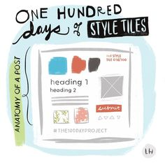 """""""Settled on a theme for @greatdiscontent and @elleluna's #The100DayProject!  Inspired by a lucky conversation with responsive typography and UX master craftsman, @jpamental, that got me really thinking about my process. So! Commencing today: 100 days of style tiles.  What are style tiles? Think of a lightweight visual style guide that's more specific than a mood board, but less literal than a page mockup. An arrangement of individual design elements that could include color, typography, photo assets, buttons, fields, spot illos, patterns, textures, and -- we'll see what else!  Hoping this challenge will help me become more literate in approaching design on an atomic level. Kapow! 💥 🔬#atomicdesign #styletiles #webdesign #branding #colorpalettes #typography #100DaysofStyleTiles"""" Photo taken by @laurenhardage on Instagram, pinned via the InstaPin iOS App! http://www.instapinapp.com (04/06/2015)"""