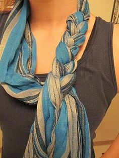 How to braid scarves. An easy way to add a little flair! This works best with long thin scarves.