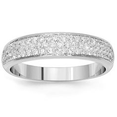 This 14K White gold diamond wedding band will sit beautifully on the finger. The perfection is portrayed in the countless round cut diamonds that are featured in a pave setting. This is a must have for her! $1,512.00