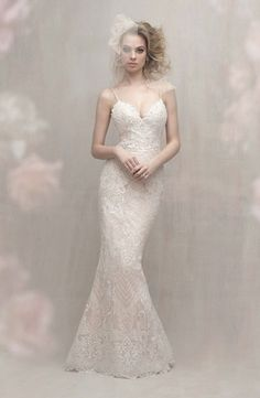 Allure Bridals - V-Neck Sheath Gown in Charmuse