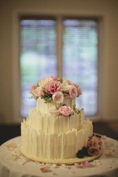 White chocolate wedding cake. Image: Cavanagh Photography http://cavanaghphotography.com.au