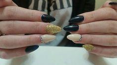 black &  gold nails