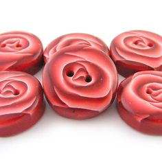 Rose Buttons Polymer Clay Buttons with Red Roses for @Abigail B. who loves her buttons. ;-)