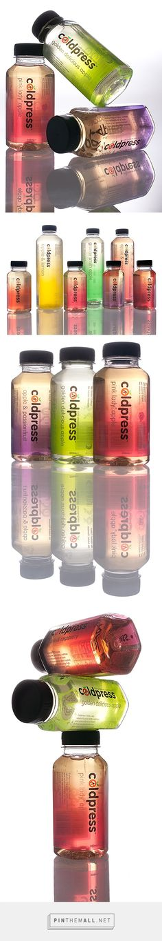 Coldpress juice packaging Design by Pidgeon curated by Packaging Diva PD. This juice packaging makes the product look very tasty. Especially the ombre color effect PD Water Packaging, Juice Packaging, Cool Packaging, Beverage Packaging, Bottle Packaging, Brand Packaging, Label Design, Branding Design, Graphic Design