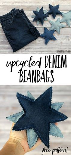 How to upcycle jeans into toys with a free star bean bag pattern! An easy sewing tutorial for upcycling jeans into a handmade toy. Easy Sewing Projects, Sewing Hacks, Sewing Tutorials, Sewing Crafts, Sewing Toys, Craft Projects, Sewing Classes For Beginners, Quilting For Beginners, Upcycled Crafts