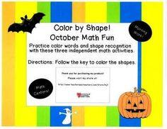 October Color by Shape Activities Set Math Work, Fun Math, Math Games, Kindergarten Readiness, Kindergarten Teachers, Adventure Activities, Early Learning, Pattern Blocks, Math Centers