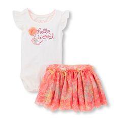 b393044b5 Baby Girls Ruffle Sleeve 'Hello World' 3D Flower Bodysuit And Floral Mesh  Skirt Set