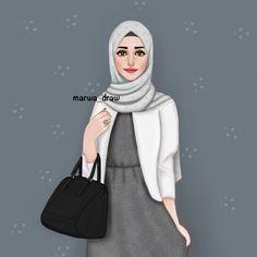 marwa _ draw Muslim Girls, Muslim Women, Hijab Drawing, Girly M, Hijab Cartoon, Cute Girl Drawing, Islamic Girl, Donia, Girly Drawings