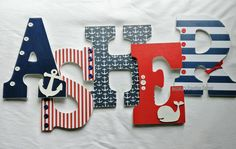 Nautical letters, nautical nursery letters, wooden letters, nautical nursery boy, wooden letters for boy - Wood Letters Nautical Letters, Nautical Theme Nursery, Nautical Party, Wood Letters, Nursery Themes, Baby Boy Nurseries, Nursery Boy, Wooden Alphabet, Baby Name Signs