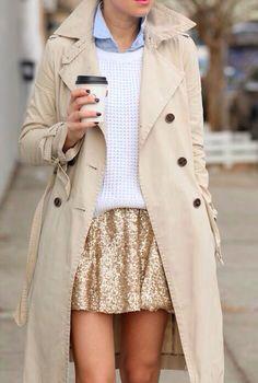 Gold skirt, white sweatshirt