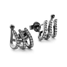 A step away from your traditional stud earrings are these Black rhodium cuff earrings, crafted from Sterling silver with striking Black rhodium plating. Cuff Earrings, Silver Earrings, Black Rhodium, Plating, Cufflinks, Treats, Traditional, Sterling Silver, Crystals