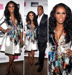 June Ambrose in Cynthia Rowley and Brian Atwood - beautiful print, perfect cut, hot pumps