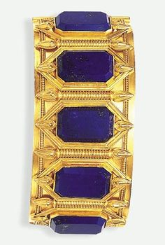 AN ETRUSCAN REVIVAL LAPIS LAZULI AND GOLD BRACELET, BY CARLO GIULIANO.