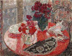 Still Life with Flowers, Shells and Fan, Léon de Smet - http://wp.me/p6qjkV-d34  #Art