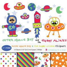 ♥ MASSIVE $2.00 SALE ♥ SALE Astronaut Clip Art & Scrapbook Papers by DreamingOnAStar $2.00