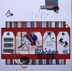 Hockey Scrapbook Page Ideas featuring 17turtles Digital Cut Files by @fortysomething