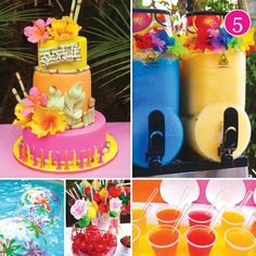 {Party of Glam Black & White, Seuss First Birthday, Country Garden, Helicopter Party & Teen Pool Party // Hostess with the Mostess® Teen Pool Parties, Pool Party Themes, Teenage Parties, Pool Party Decorations, 13th Birthday Parties, Luau Birthday, Birthday Ideas, Hawaiian Birthday, Hawaiian Theme