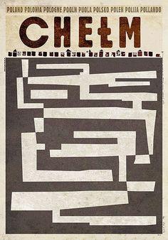 Polish tourism poster for Chełm's famous underground city (chalk mines) (2012) by Polish artist and graphic designer Ryszard Kaja (b.1962). via Galeria Plakatu