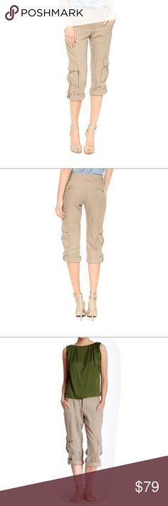"NWT!! Alice+Olivia Ivory Rolled Cuff Cargo Pants 2 ⭐ Crisp linen lends easy sophistication to cropped alice + olivia cargo pants. Snap tabs secure the cuffs, and multiple pockets complete the piece. Double hook-and-eye closure and zip fly.  ⭐ 100% linen. ⭐ size 2, Measurements laying flat : length 33"", inseam 24"", waist 15"", leg opening 8"" Alice + Olivia Pants Ankle & Cropped"