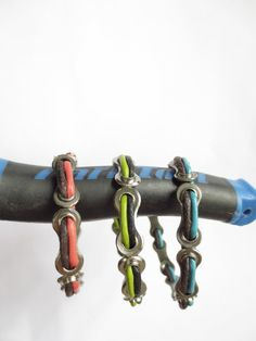 Bicycle Jewelry , Bikes , Bicycle Accessories , Bicycle Chain Link and Leather Bracelet , Upcycled Jewelry