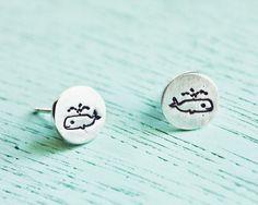 Little Whale Earrings, Silver Whale earrings, whale stud earrings by boygirlparty - sterling silver stud earrings set whale earings