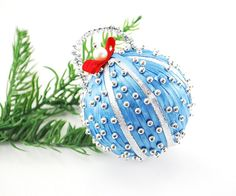 Vintage Christmas Ornament, Beaded Satin Ribbon Christmas Ornament, Blue Silver Christmas Ornament, Christmas Tree Ball Ornament (etsy listing for $12.00)