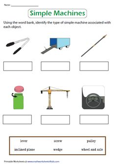 Identify the Simple Machines Worksheet Grade 2 Science, Elementary Science, Science Ideas, Teaching Science, Science For Kids, Teaching Resources, Teaching Ideas, Science Worksheets, Printable Worksheets