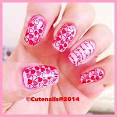 Heart and love letter nail art