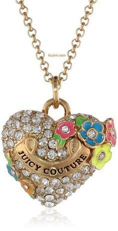 """Juicy Couture Pave #Heart and #Flower #Necklace, 31.21"""" #Juicy #JuicyCouture"""