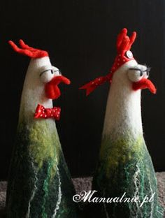 felt chickens by Kasia Izydorczyk (wet and needle felting)