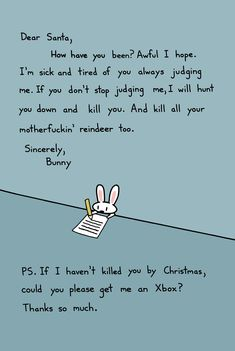Bunny's Letter To Santa Holiday Card 10 Pack. $20.00, via Etsy.