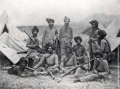 India In The Century. Sikh officers of the British Punjab Infantry regiment, shortly after the Indian Rebellion (also known as the Indian Mutiny), 1858 Indiana, Colonial India, British Colonial, Soldier 10, Army Post, India Facts, Vintage India, Indian Army, Canvas Prints