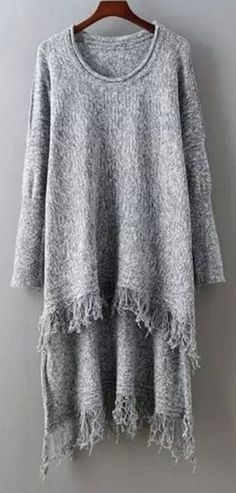Sweater Love! Silver Grey Fringed High Low Sweater #Comfy #Silver #Grey #HiLo #Fringe #Sweater #Fashion