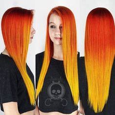 Sunset Orange And Yellow Hair By @Hairgod_Zito On Instagram