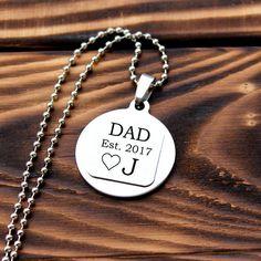 Dad est 2017, dad established 2017, dad necklace, personalized dad gift, gift for dad, initial dad gift, dad pendant, new dad gift, est 2017