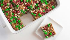 This holiday twist on gooey seven-layer bars starts with a Christmas cookie crust and packs plenty of chocolate flavor—three kinds of chocolate, to be exact. Pretzels add just the right amount of salty crunch.
