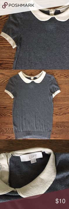 gray sweater tee gray sweater tee   cream or off white collar detail   back button detail   super soft and pretty lightweight material   worn once for a few hours and in perfect condition! LOFT Tops