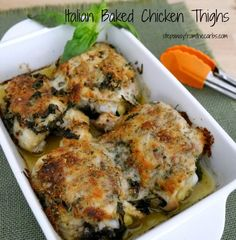 Italian Baked Chicken Thighs - a delicious dish that is super low in carbs