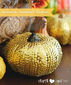 Fall Craft: Decorative Thumbtack Pumpkin Craft