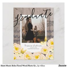 Shop Sheet Music Boho Floral Wood Photo Graduation Announcement Postcard created by rikkas. Personalize it with photos & text or purchase as is! Zazzle Invitations, Invites, Graduation Announcement Cards, Graduation Party Invitations, Photo On Wood, Postcard Size, Boho, Floral