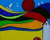 """tableau naïf """" LA MER QU' ON VOIT DANSER"""" peinture acrylique sur toile : Peintures par danyrocherleroi"""