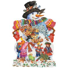 "Snowy Friends 750 Piece Shaped Jigsaw Puzzle, Item 43964, $9.99    Our jolly snowman has found a wonderful group of children and forest friends to dress him up for Christmas. A delightful shaped jigsaw by artist Wendy Edelson, filled with the magic of winter. Comes in two piece counts and measures 20"" x 27""."