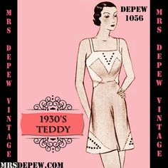 Vintage Sewing Pattern 1930's French Teddy Cami-Knickers