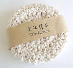 """Crochet Coasters,  Scrubbies  Natural Coasters - Set of Four -   are made of 100% cotton and are very absorbent. These are double thickness and approximately 4"""" wide, by pomegranatefarm on Etsy, $10.50"""
