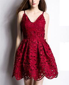 New Women Sexy Spaghetti Strap Lace Embroider Dress - Lalalilo.com Shopping - The Best Deals on Women's Dresses