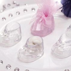 Baby Booties - Clear - 12/pk | eFavorMart / Clear Fillable Baby Booties Birthday Shower Party Favor Gift - 12/pk