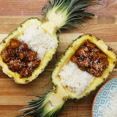 Sticky Pineapple Chicken A Tour Of Delicious Asian-Inspired Dinner Recipes Pineapple Bowl, Pineapple Fried Rice, Rice Recipes, Asian Recipes, Dinner Recipes, Yummy Recipes, Pineapple Chicken Recipes, Cooking Tips, Cooking Recipes